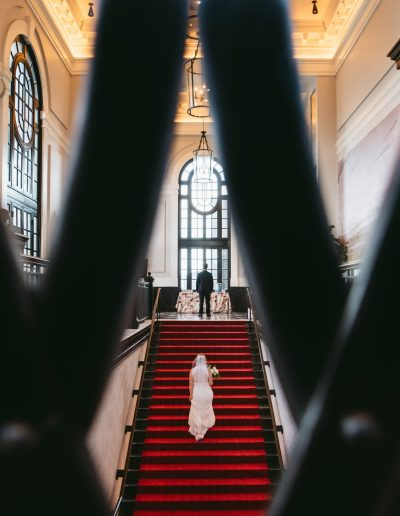 Sagamore Pendry Wedding Red Staircase